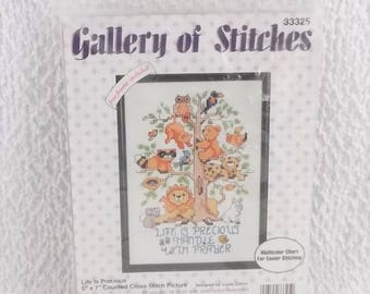 Vintage Bucilla Gallery of Stitches Life is Precious 5x7 Counted Cross Stitch Picture Kit 33325 From 1993