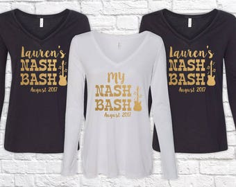 Bridesmaid Shirts Bridal Party Nash Bash Nashville Bachelorette Flowy V-Neck Long Sleeve Bachelorette Party Shirts