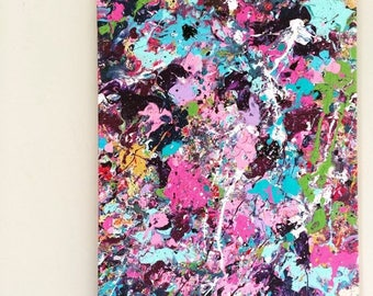 SALE Expressionist Art Abstract Painting XL Splatter Canvas Action Painting Original Acrylic Art Pink Blue Purple Modern Painting 18x24 canv