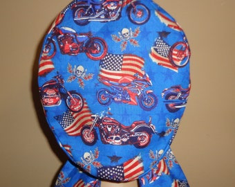 Woman's Hair wrap , Scrub Cap , Motorcycle , flag , fireworks , america , 4th of July