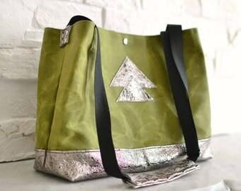 Sac cabas kaki, sac en coton ciré & cuir bronze. Cire d'abeille naturelle. Cabas motifs géométriques. Sac bandoulière femme, totebag cuir