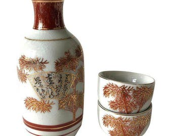 Vintage Japanese Ceramic Sake Decanter and Cups Set