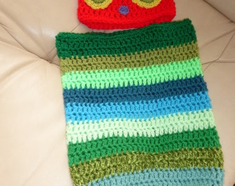 CUTE caterpillar hat and cocoon set 0-3 months