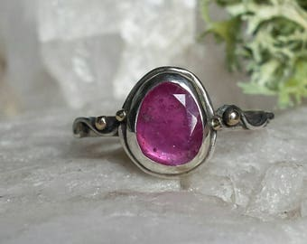Sterling Silver Water Band set with a Pink Sapphire