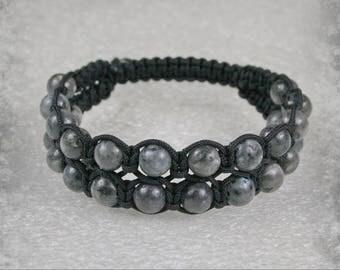 Double men Shamballa bracelet with  8 mm Labradorite  beads , Stone bracelet , Labradorite  Bracelet