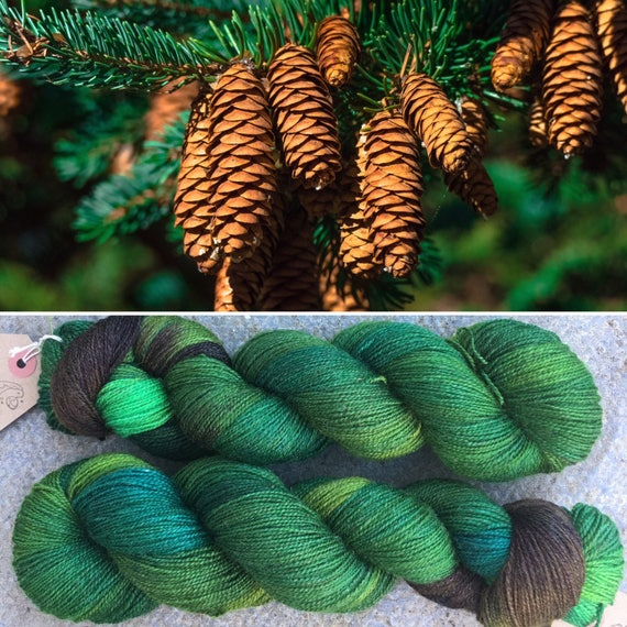 Coniferous Forest Sparkle Sock, indie dyed merino nylon yarn in evergreen colours
