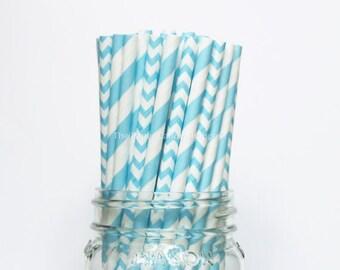 AQUA BLUE paper straws, aqua blue cake pop sticks, aqua wedding straws, aqua party straws, drinking straws 25