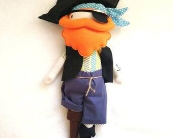 Pirate cloth doll - softie toy - rag doll