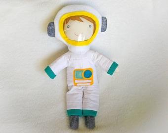 Astronaut cloth doll - softie toy - rag doll - nursery decor