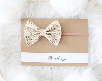 Gold Glitter and Lace Ainsley Bow - headband or clip   gold bow   valentines day headband   valentines day bow   hair bow   glitter bow  