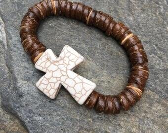 Cross bracelet mens bracelet bohemian bracelet women's boho bracelet mens cross bracelet religious bracelet mens mala protection strength