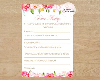 Printable Baby Shower Game, Baby Shower games girl, baby shower games printable floral, Baby Predictions Card, Wishes for Baby printable