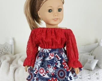 18 inch doll skirt and peasant blouse | floral skater skirt | red lace crop top | navy blue, gray, & red peasant blouse