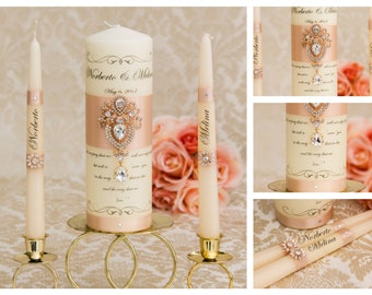 Rose Gold Wedding Unity Candles Set, Personalized Wedding Candles, Blush Wedding Unity Candle Set, Rose Gold Wedding Candle