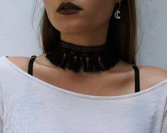 FESTIVAL QUEEN Black Lace Fringe Tassel Boho Hippie Free Spirit Choker Collar