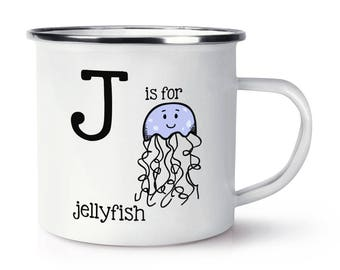 Letter J Is For Jellyfish Retro Enamel Mug Cup