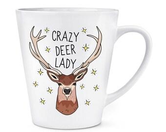 Crazy Deer Lady 12oz Latte Mug Cup