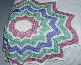 Round Ripple Stripped Baby Blanket