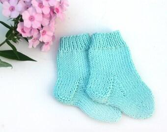 Hand knit baby socks, Newborn cotton socks, Baby shower gift