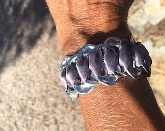 recycled cans and Ribbon bottle cap bracelet
