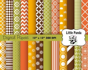 80% OFF SALE Thanksgiving Digital Paper 24 jpg files 12 x 12 - Instant Download - D180