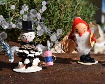 Vintage Putz Santa Claus Felt Spun Cotton Snowman Pine Cone Chenille Figurine