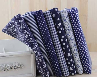 1 PCS, 50*50 cm/ 19.7*19.7 inch, Navy Dark Blue Flower Floral Pattern Cotton Fabric