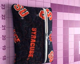 Hand made Syracuse University 6.5 X 5 zippered cosmetic/phone/money/anything bag (new flannel fabric)