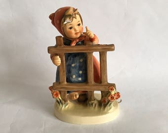 "Vintage HUMMEL Ceramic FIGURINE - ""Signs of Spring"",5"" German Goebel, Made in Germany, 203/I,Tmk 5,Girl at Fence w Flowers, Scarf, Bare Foot"