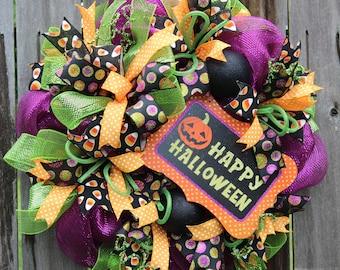 Halloween Mesh Wreath, Happy Halloween Wreath, Pumpkin Wreath, Fall Wreath