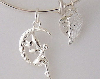 AA0009B Etched Fairy Adjustable Wire Bracelet w Small Angel Wing & Heart Charms ~ Silver Plated