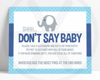 Dont Say Baby Game - Don't Say Baby Sign - Navy Blue Elephant Baby Shower Printable Games - Funny Baby Games - Boy Baby Shower Activities