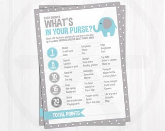 Whats in your Purse Game Cards - Blue Elephant Baby Shower Printable Games - Purse Game - Baby Boy - Blue and Gray Baby Shower Activities