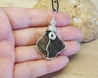 Large Raw Moldavite pendant. Sterling silver Reiki jewelry uk. Green Tektite Wire wrapped pendant