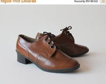 ON SALE Womens Oxford Shoes Vintage Oxfords Lace up Shoes Brown Shoes Ladies  Laced Shoes Soviet Era Shoes    Made in the USSR New old stock
