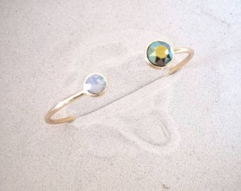 Gold plated Bangle Bracelet with two swarovski stones