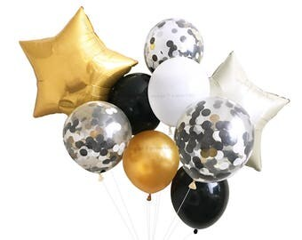 New Years Eve Decorations - Black White & Gold Balloons ( Balloon Bouquet Bundle with Confetti Balloons ) NYE Decor Ideas 40th 30th Birthday