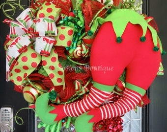 Christmas Wreath, Elf Wreath, Holiday Wreath, Christmas Gift, Front door wreath, Door Hanger, Whimsical Wreath, Ready to ship