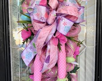 Easter Swag, Easter Wreath, Easter Decoration, Whimsical Wreath, Door Hanger, Deco Mesh Wreath, Front door wreath, Wreath for door