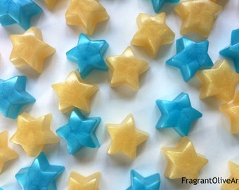 Mini star soaps, set of 10 stars, custom colored and scented. Kids soaps, party favors, guest soaps, baby showers.
