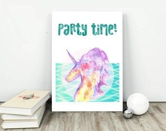 NEW!  Party time! Unicorn Printable Art, Unicorn print, Unicorn art , Instant download for Home decor,  party rainbow art