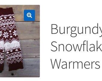 Burgundy Snowflake Leg Warmers Du North