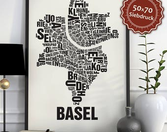 Basel Typographic Map Screen Print