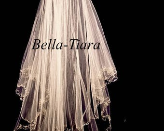 ivory gold wedding veil, gold beaded wedding veil, gold beaded bridal veil, gold beading veil, gold with blusher veil, crystal gold veil