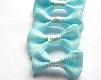 x 5 bows in blue polka dot white 30 * 15 mm