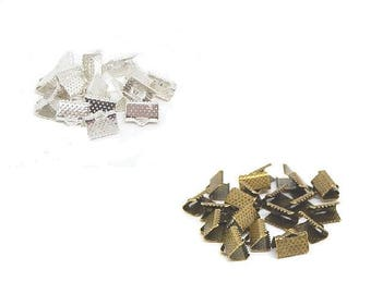 50 end caps claw clip Ribbon 10mm silver //couleur or color bronze