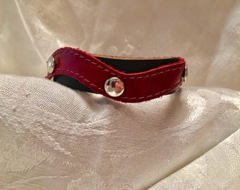 Black Leather Bracelet - Cuff/Wristband - Adjustable - Silver tone Studded - Cordovan Burgundy Leather Accent