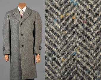 SALE Herringbone Tweed Overcoat 1970s Tweed Coat 70s Winter Coat 1970s Herringbone Coat Fleck Tweed Car Coat Overcoat Herringbone Fleck Twee