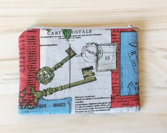 Coin Purse,Card case,Ear Bud Case,  Ear Bud Holder,Small Zippered Pouch Pure Handmade