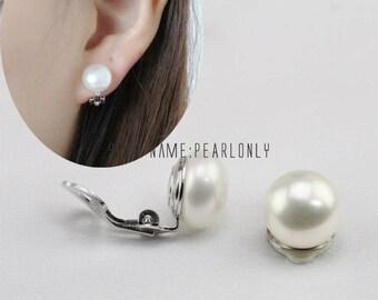 clip pearl earrings,pearl clip earrings stud,freshwater pearl earrings,sterling silver 925,bridesmaid earrings,non pierced ears earrings